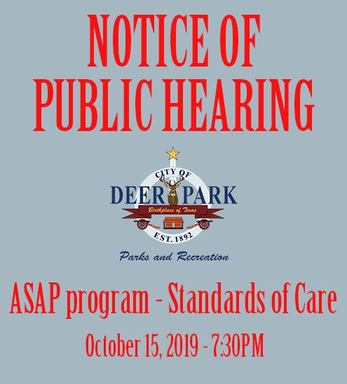 Notice of Public Hearing - ASAP standards of care