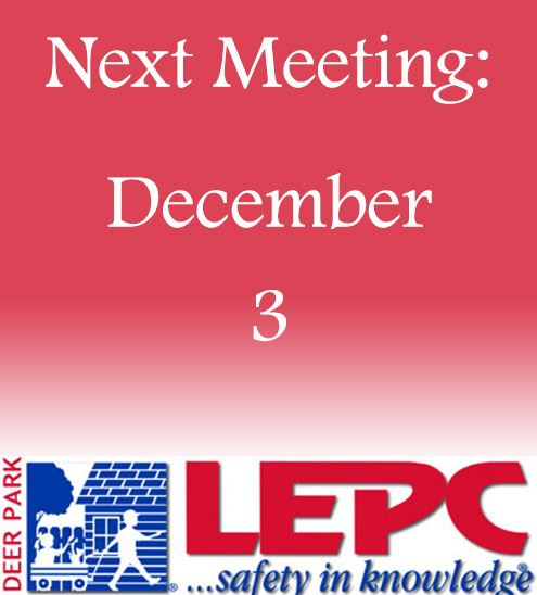 "Decorative - text reads ""next meeting date December 3"" with LEPC logo"