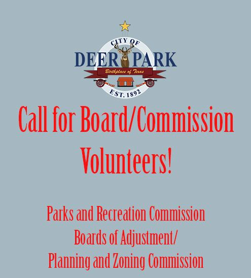 Board-Commission volunteer - Parks Commission and Board Adjustments Planning Zoning